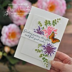 Positive thoughts & feel-good wishes (Miss Pinks Craft Spot) Butterfly Cards, Flower Cards, Pink Crafts, Paper Crafts, Stamping Up Cards, Get Well Cards, Cards For Friends, Sympathy Cards, Positive Thoughts