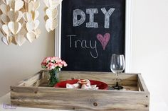 Make your own rustic tray with a vinegar steel wool paint treatment and some stock pine wood.