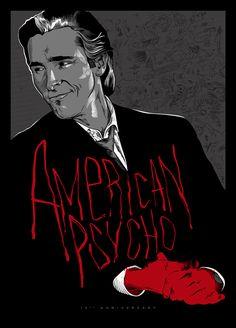 "Horror Movie Poster Art : ""American Psycho"" Anniversary Poster, by Adrien Noterdaem aka ADN-z @ deviantart Horror Movie Posters, Cinema Posters, Movie Poster Art, Horror Films, Horror Art, Scary Movies, Great Movies, Iconic Movies, American Psycho Poster"