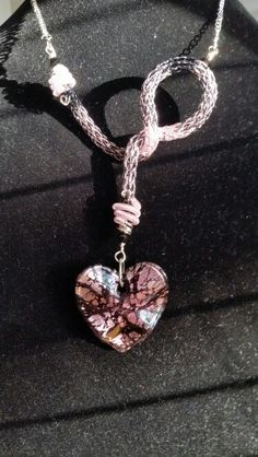 2 tone black & pink asymmetric Viking Knit Necklace with matching heart pendant