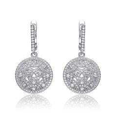 Collette-Z-Sterling-Silver-Cubic-Zirconia-Round-Dangling-Earrings
