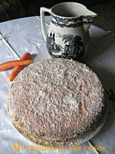 Mi mamina y sus cosas: Bizcocho relleno de crema de zanahoria y coco