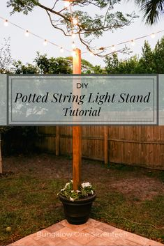 DIY Potted String Light Stand - This DIY stand allows you to have string lights .DIY Potted String Light Stand - This DIY stand allows you to have string lights .DIY Potted String Light Stand - This DIY. Patio Diy, Backyard Patio Designs, Backyard Landscaping, Pergola Patio, Cement Patio, Patio Privacy, Flagstone Patio, Budget Patio, Outdoor Walkway