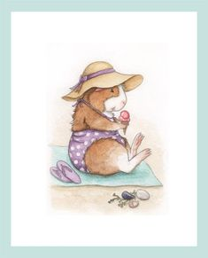 Henrietta at the Beach Guinea Pig Art Print via Etsy. - This adorable handmade guinea pig art print features Henrietta the brown and white guinea pig enjoying a delicious strawberry ice cream cone at the beach! Henrietta is wearing a lovely sun hat with a purple ribbon to match her polka-dotted swimsuit and lavender flip flops. If you look closely, you'll see a mussel, clam and lady's slipper shell in the sand with some fucus seaweed.
