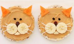 Kitty Cat Rice Cakes Recipe - After school snacks Food Art For Kids, Cooking With Kids, Toddler Snacks, Healthy Snacks For Kids, Cute Kids Snacks, Toddler Muffins, Kids Fun, Cute Food, Good Food