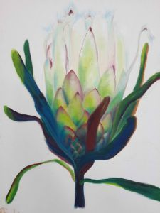 """Protea Glow 3"" Protea Art, Protea Flower, Abstract Flower Art, Abstract Drawings, South African Art, Flower Artists, Hawaiian Art, Plant Painting, Polychromos"
