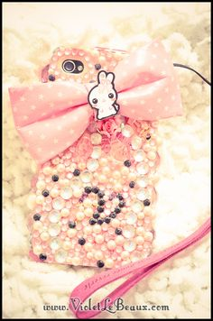 Pink Bling Decoden iPhone 4 Case - Violet LeBeaux- Cute Free Craft Tutorials
