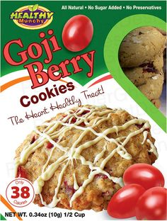 Front of label for cookie box. Second version.     Free Bottle $1.00 #Free Trial Offer -   http://tohealthylifestyles.com/goji    The Goji Berry is renowned for its antioxidant properties that provide a variety of benefits including increased energy and heightened immune function.