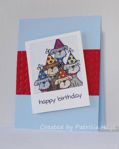 Lawnscaping Lawn Fawn Critters in the Burbs Birthday Card by Patricia Hays.