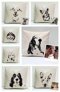 Custom Pet Pillow Covers via Hearts & Sharts on Etsy
