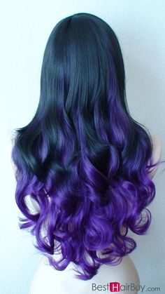 Purple and Black Ombre Hair--100% Human Hair and they can be dyed, cut and heat styled.And now only $60! #cheapest! Any question please #Besthairbuy!