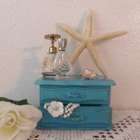 Rustic Aqua Shabby Chic Valet Jewelry Box Beach Cottage French Country Home Decor Turquoise Teal Birthday Gift Bedroom Mirror