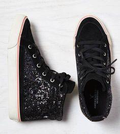 2dc847fa47b Black AEO Glittery Hi-Top Sneaker Trendy Womens Sneakers