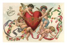 Four Cherubs Holding a Large Heart, 1910