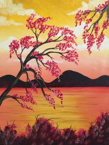 Sehen Sie sich Paint and Sip Artwork an – Pinot's Palette - Malerei Kunst Cool Paintings, Beautiful Paintings, Cherry Blossom Painting, Cherry Blossoms, Wine Painting, Peace Painting, Paint And Sip, Paint Party, Tree Art