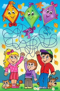 Schmitt Buffet e Eventos Autumn Activities For Kids, Math For Kids, Lessons For Kids, Fun Math, Toddler Activities, Mazes For Kids Printable, Dyslexia Activities, Kites Craft, Maze Puzzles