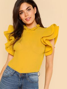 SHEIN Yellow Party Elegant Exaggerate Ruffle Trim Pleated Panel Stand Collar Blouse Summer Women Going Out Shirt Top Going Out Shirts, Le Polo, Sleeves Designs For Dresses, Yellow Fashion, Collar Blouse, Blouse Designs, Blouses For Women, Fashion Dresses, Women's Fashion