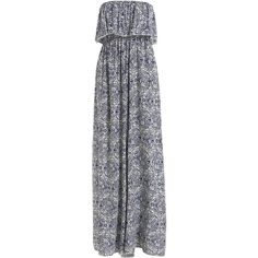 SheIn(sheinside) Blue Strapless Ruffle Floral Maxi Dress (205 ZAR) ❤ liked on Polyvore featuring dresses, one piece, robe, sheinside, blue, sleeveless maxi dress, sleeveless shift dress, floral maxi dress, sleeve maxi dress and cotton maxi dress