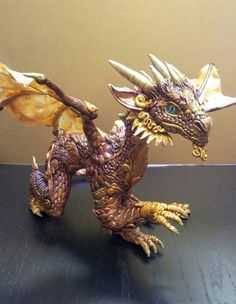 Bronze and Golden Dragon by MakoslaCreations on Etsy