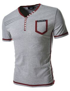 Brand new Korean fashion T-shirts for men. Contrast tees with buttons henley neck, summer short sleeved tops are made of cotton blend. Slim fit casual t-shirts. Polo T Shirts, Summer Shirts, Blazers For Men, My T Shirt, Mens Sweatshirts, Casual Shirts For Men, Shirt Style, Men Sweater, Couture