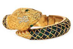 Vintage KJL Enamel Snake Wrist Watch on OneKingsLane.com