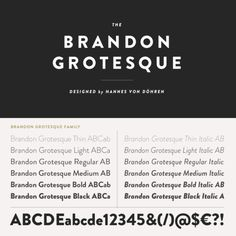 Brandon Grotesque Font: Brandon Grotesque is a sans serif type family of six weights plus matching italics. Brandon Grotesque, Typography, Lettering, Hobbs, Mood Boards, Inspire Me, Cali, School Ideas, Rv
