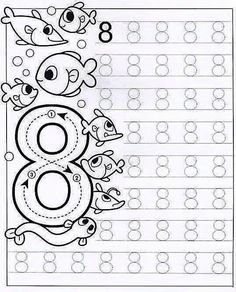 New System-Suitable Numbers Line Study - Preschool Children Akctivitiys Preschool Writing, Numbers Preschool, Kindergarten Math Worksheets, Tracing Worksheets, Math Numbers, Preschool Printables, Preschool Activities, Pre Writing, Math For Kids