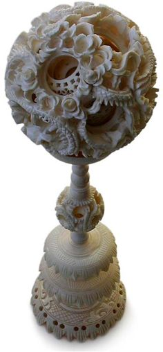 Old Chinese Carved Ivory Dragon Puzzle Ball Carving