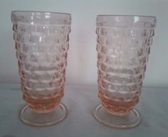 """2 VINTAGE 6"""" Footed Tumblers Pink American Whitehall Cubes Cubist"""