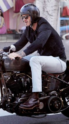 David Beckham was pictured on a vintage motorbike on the popular Abbot Kinney Blvd in Venice, California heading to the celeb hotspot Gjelinas with a male friend. The former Manchester United and Real Madrid soccer superstar was