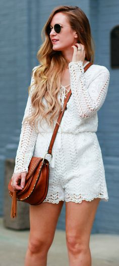 Lace romper, round Ray Ban sunglasses, and Chloe Hudson dupe bag