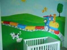 muurschildering trein