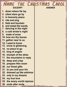 Can you name the Christmas Carol? Game to use for ladies meetings or any Christmas Gathering and/or party.