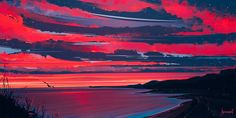 HD wallpaper: painting of beach under pale evening sky, artwork, Aenami, sunset Aesthetic Desktop Wallpaper, World Wallpaper, Scenery Wallpaper, Couple Wallpaper, Wallpaper Pc, Anime Computer Wallpaper, Sunset Wallpaper, Desktop Wallpapers, Photo Wallpaper