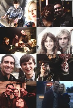 I like Vera Farmiga's look in the pic with a silly Nestor Carbonell Norman Bates Motel, Bates Motel Cast, American Psycho, American Horror Story, Film Books, Book Tv, Freddie Highmore Bates Motel, Norma Bates, Vera Farmiga