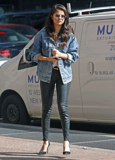 selena-gomez-style-leather-pants-denim-jacket-sunglasses