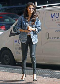 selena-gomez-style-leather-pants-denim-jacket-sunglasses
