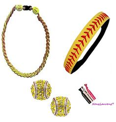Softball Headband Set - Leather Seamed Headbands Yellow with Red Stitching, Softball Post Earrings, Softball Titanium Necklace, Hair Ties by Kenz Laurenz (Softball Set Headband Earrings Necklace) Kenz Laurenz http://www.amazon.com/dp/B00XFO9G80/ref=cm_sw_r_pi_dp_lWC1wb08NSGNV