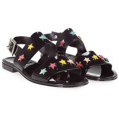 Multicolor Stars Rubber Flat Sandal (535 SAR) ❤ liked on Polyvore featuring shoes, sandals, nero, womenshoessandals, multicolor shoes, black sandals, black shoes, colorful shoes and black flat shoes
