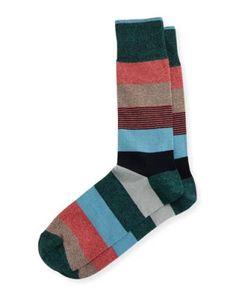 N4SXW Neiman Marcus Wide Mixed-Stripe Jaspe Socks