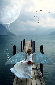 I came across the background first and had a great idea for it, but then I found the girl and quickly changed my mind (she asked that nothing creepy be . Momma's Little Bird Moon Magic, Creepy, Deviantart, Bird, Artwork, Angels, Sea, Work Of Art, Auguste Rodin Artwork