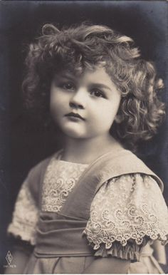 1910..Precious Edwardian Girl with Curly Hair..original french postcard