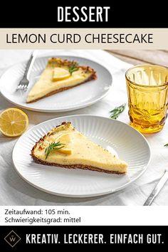 Cremiger Cheesecake mit einer erfrischenden Zitrus-Note. #cheesecake #zitrone #käsekuchen #rosmarin Lemon Curd Cheesecake, Foodblogger, Note, Ethnic Recipes, Desserts, Lemon, Ice, Treats, Meal