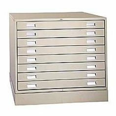 "4- and 8-Drawer Steel Flat Files - Almond by C $833.00. Flat files feature seamless case construction and double-wall drawer fronts. Heavy-gauge welded structural supports throughout add maximum load bearing capacity and years of trouble free service. Drawers glide smoothly without binding on heavy-duty, round-edge ball bearing rollers. Two recessed handles per drawer. 4-drawer units are stackable. Can be bolted together for safety. Stack files on optional 4"" closed..."