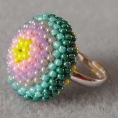 Free Beaded Ring Tutorial featured in Bead-Patterns.com Newsletter.