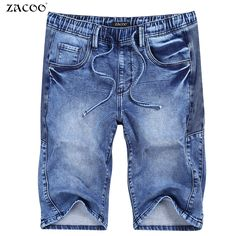 21.59$  Buy here - ZACOO 2017 New Summer Jeans Men Fashion Short Pants Jeans Elastic Waist Denim Casual Male Brand Clothing Knee Length Jeans Men  #SHOPPING