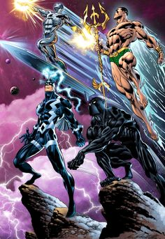 Four great Marvel characters. Silver Surfer, Namor, Black Bolt, and Black Panther. Arte Dc Comics, Marvel Comics Art, Marvel Heroes, Anime Comics, Captain Marvel, Heros Comics, Comic Book Heroes, Comic Books, Marvel Comic Universe