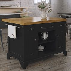 222 Fifth Furniture Sutton Kitchen Island with Wood Top