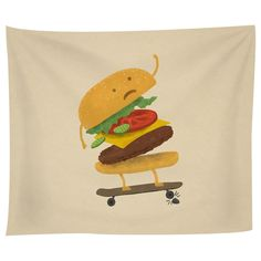 Burger Wipe Out Tapestry