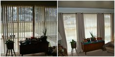 By replacing vertical blinds with curtains, as seen on My Journey With Candida, the windows appear larger and the room seems brighter.   - CountryLiving.com
